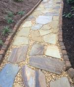 stone walk with pea gravel